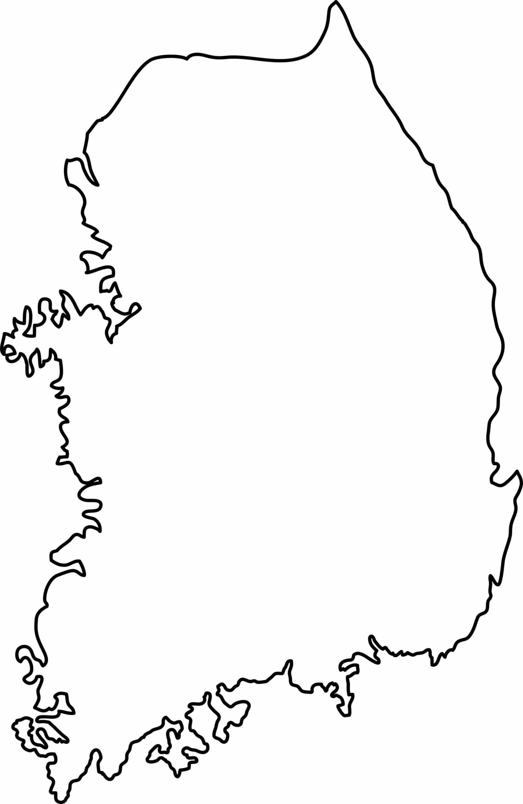 Outline map of South Korea